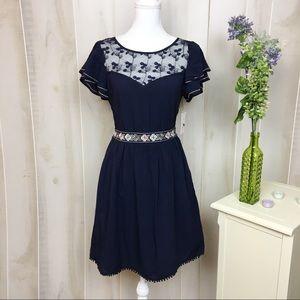 NWT Moon Navy Blue Illusion Neckline Dress